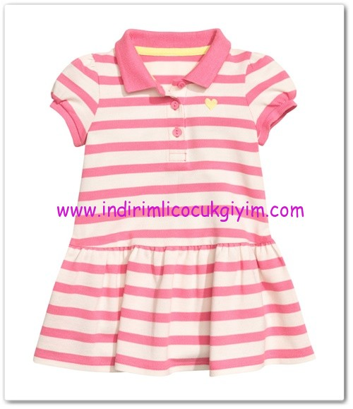 HM-kız bebek pembe çizgili pike elbise-30 TL