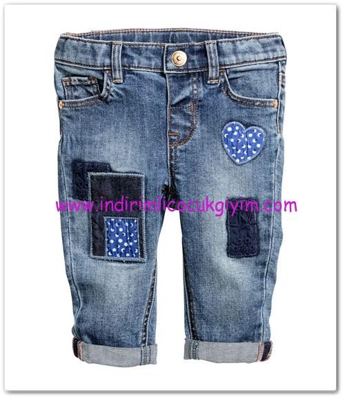HM-kız bebek yamalı strech kot pantolon-50 TL