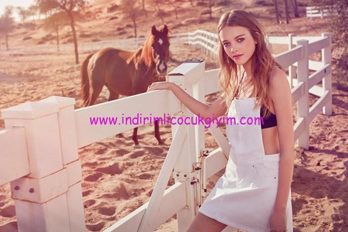 Koton-Ole-Genç Kız Beyaz Salopet Elbise