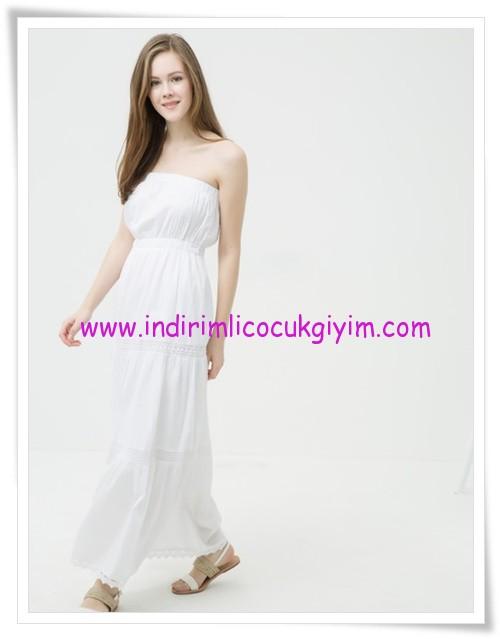 Koton beyaz straplez maxi elbise-90 TL