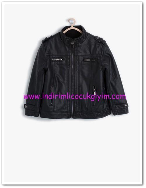 Koton erkek çocuk siyah deri görünümlü mont-56 TL