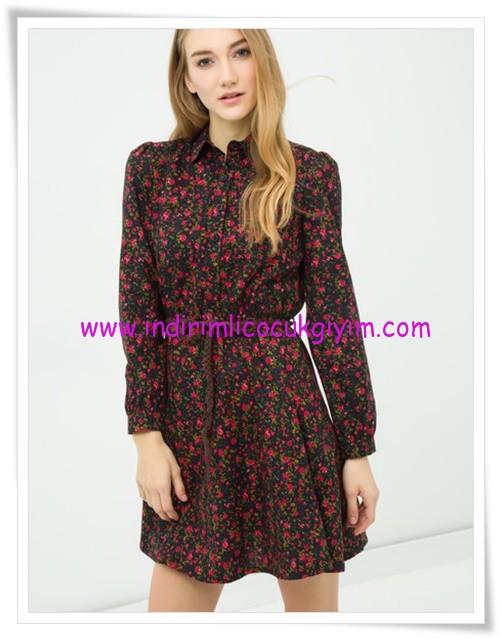 Koton ip kemerli çiçek desenli genç kız elbise-23 TL