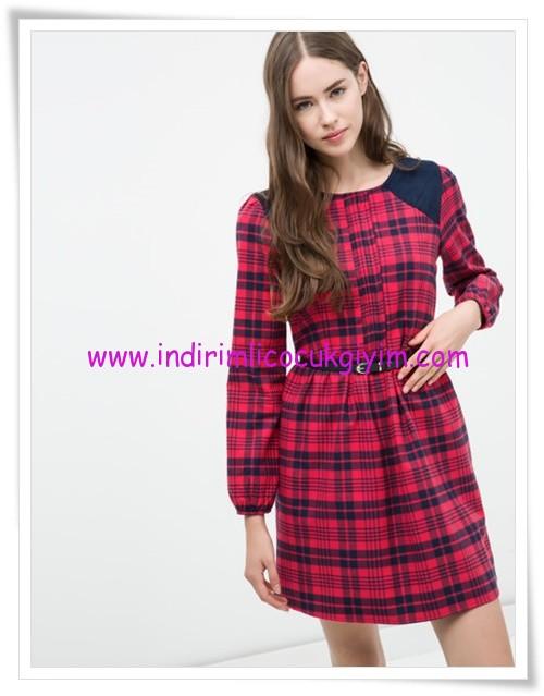 Koton kırmızı kareli ekose genç kız elbise-23 TL