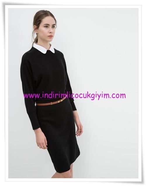 Koton kemer detaylı siyah genç kız elbise-26 TL
