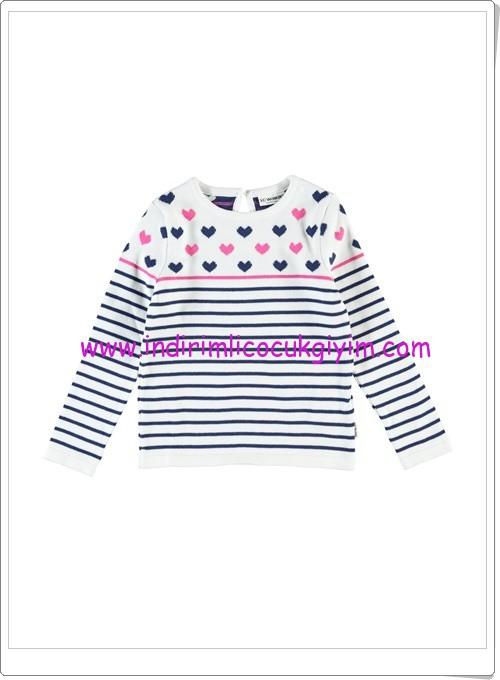 LCW kız çocuk ekru çizgili kalpli kazak-27 TL