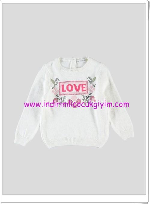 LCW kız çocuk ekru love baskılı kazak-25 TL