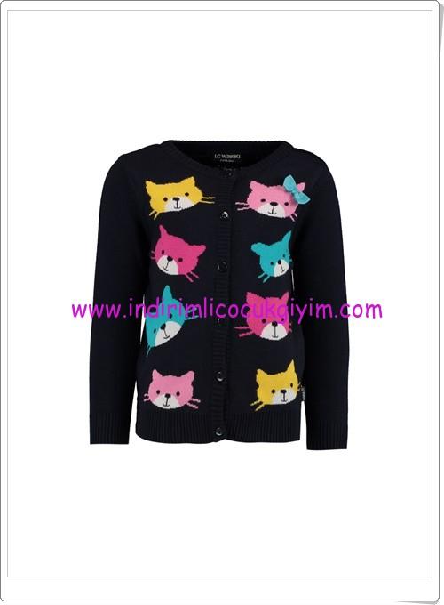 LCW kız çocuk siyah kedi baskılı hırka-25 TL