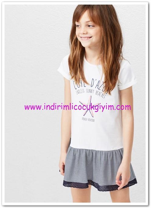 Mango kırık beyaz desenli kız çocuk koton elbise-60 TL