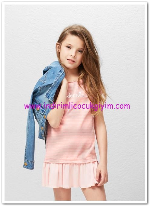 Mango kız çocuk üst kısmı kontrast elbise-33 TL