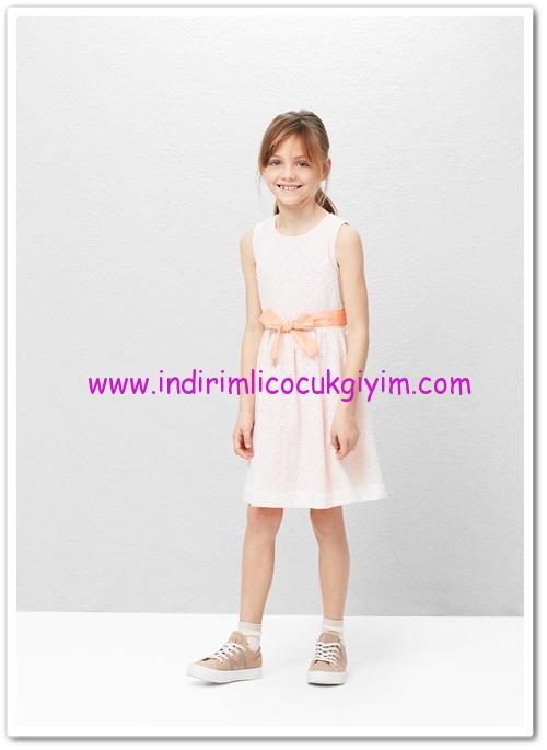 Mango kız çocuk ekru delikli koton elbise-90 TL