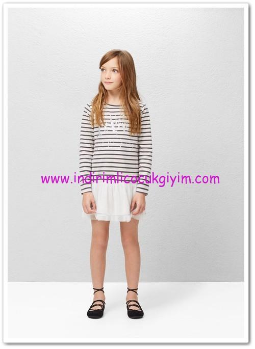 Mango kız çocuk ekru tül etekli elbise-80 TL
