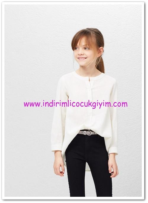 Mango kız çocuk kırık beyaz çizgili dokuma gömlek-70 TL