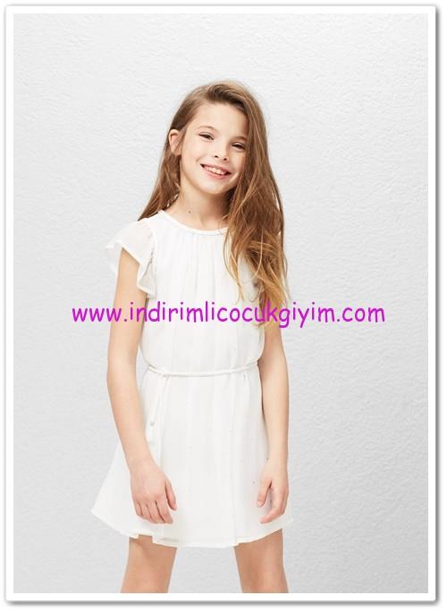Mango kız çocuk kırık beyaz örgü kordonlu elbise-70 TL