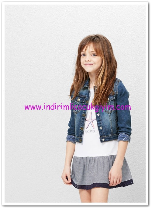 Mango kız çocuk koyu mavi kot ceket-90 TL