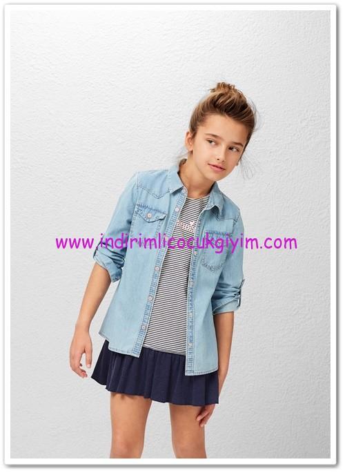 Mango kız çocuk orta açık yıkama kot gömlek-60 TL