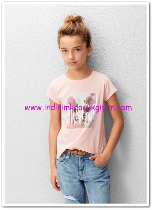 Mango kız çocuk pembe koton tişört-30 TL