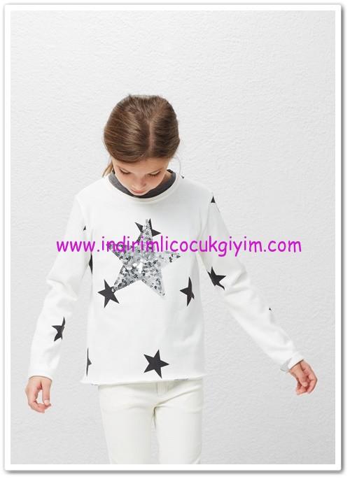 Mango kız çocuk pullu yıldızlı kazak-50 TL