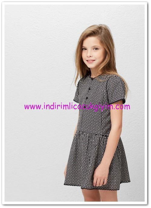 Mango kız çocuk siyah desenli elbise-70 TL