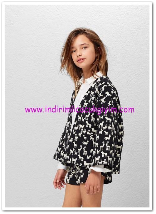 Mango kız çocuk siyah jakarlı koton ceket-100 TL