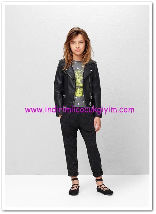 Mango kız çocuk siyah metalik iplikli koşu pantolonu-50 TL