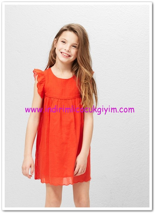 Mango kız çocuk turuncu fırfırlı koton elbise-70 TL