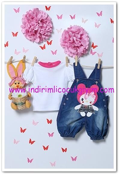 Tozlu Giyim 1-2 yaş kız çocuk fuşya denim salopet-bluz takımı-25 TL
