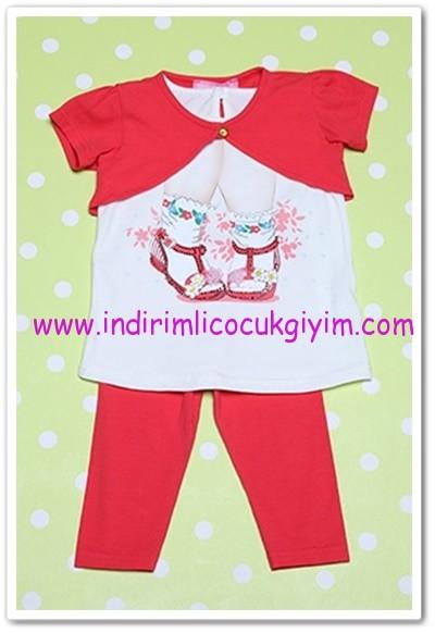 Tozlu Giyim 1-4 yaş kız çocuk mercan taytlı kız takım-25 TL