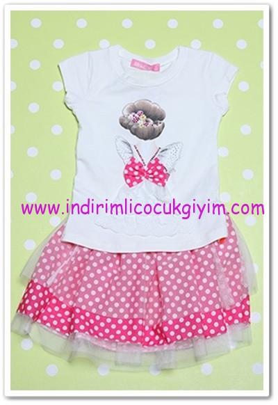Tozlu Giyim 3-6 yaş kız çocuk etekli takım-35 TL