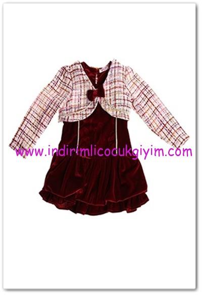 Tozlu Giyim bordo 4 yaş kız çocuk bolerolu kadife elbise