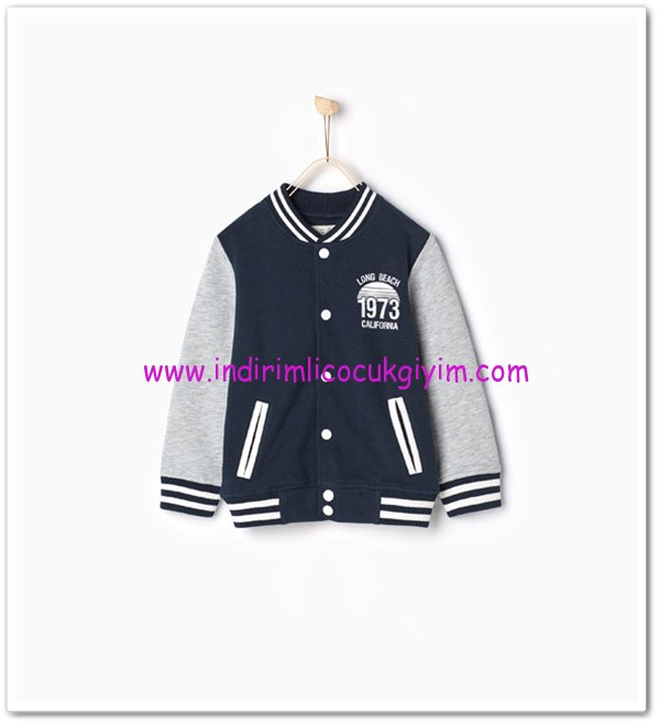 Zara boy child navy blue baseball sweatshirt-50 TL
