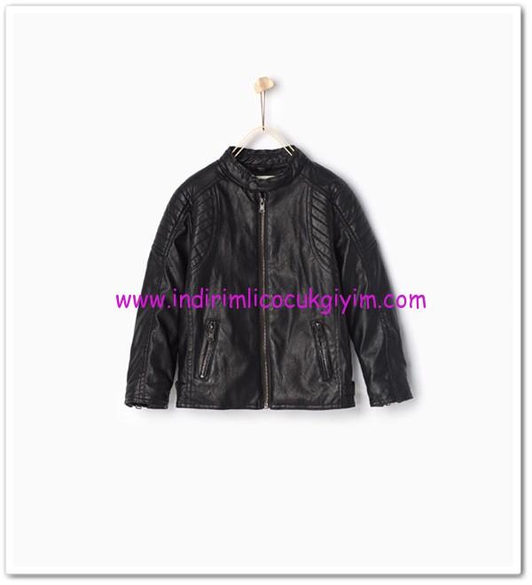 Zara erkek çocuk siyah deri ceket-150 TL