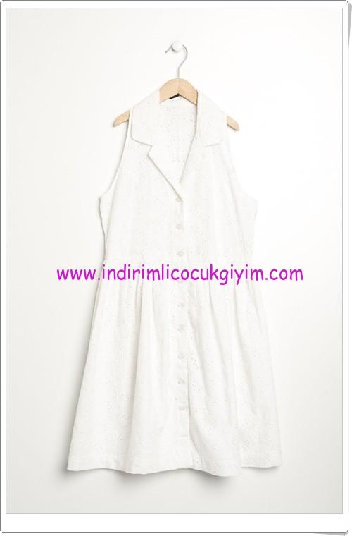 Benetton kız çocuk beyaz boyundan bağlamalı elbise-60 TL