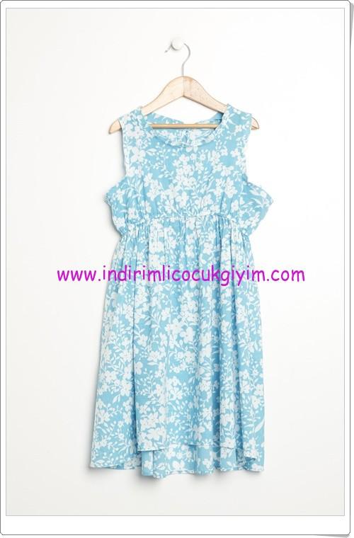 Benetton kız çocuk mavi çiçekli elbise-30 TL