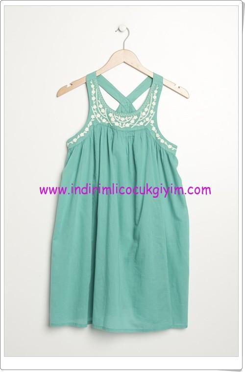 Benetton kız çocuk su yeşili elbise-40 TL