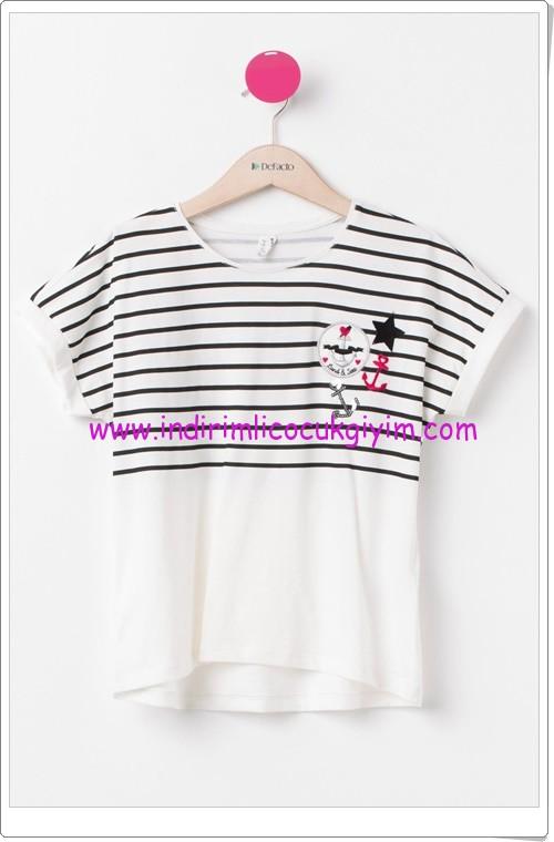 DeFacto genç kız çizgili tişört-20 TL