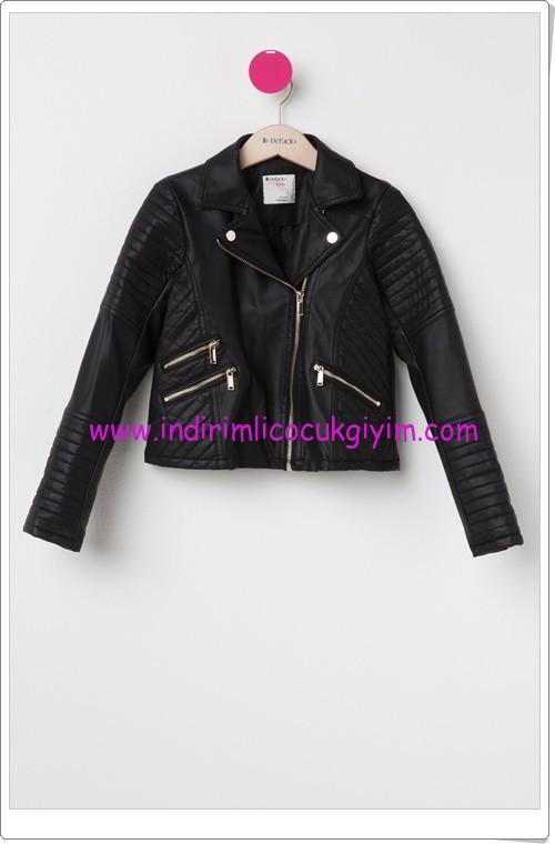 DeFacto genç kız siyah suni deri ceket-90 TL