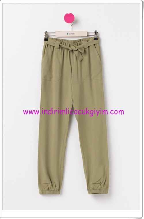 DeFacto haki genç kız beli lastikli pantolon-36 TL