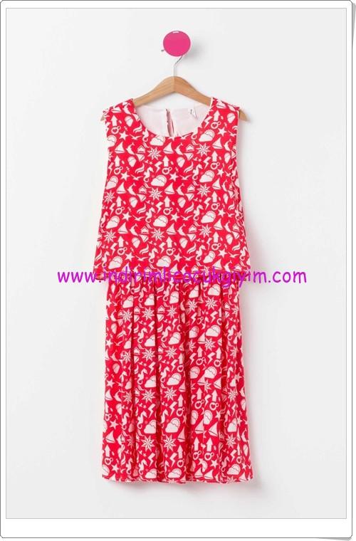 DeFacto kırmızı desenli genç kız elbise-45 TL