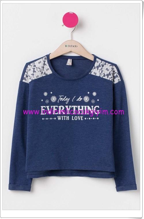 DeFacto lacivert dantel detaylı genç kız sweatshirt-30 TL