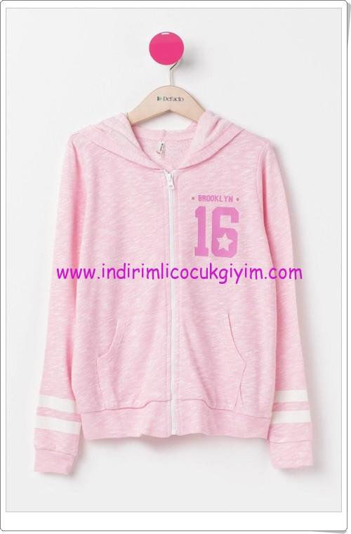 DeFacto pembe kapşonlu genç kız sweatshirt-40 TL