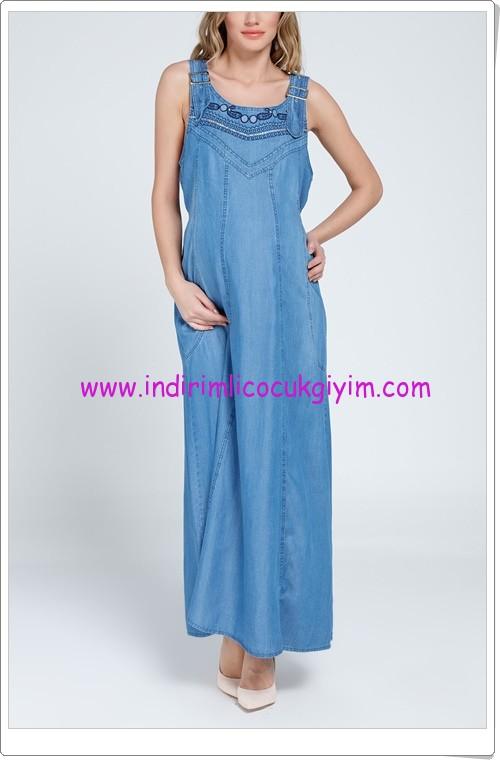 Gör&Sin denim uzun hamile elbise modelleri