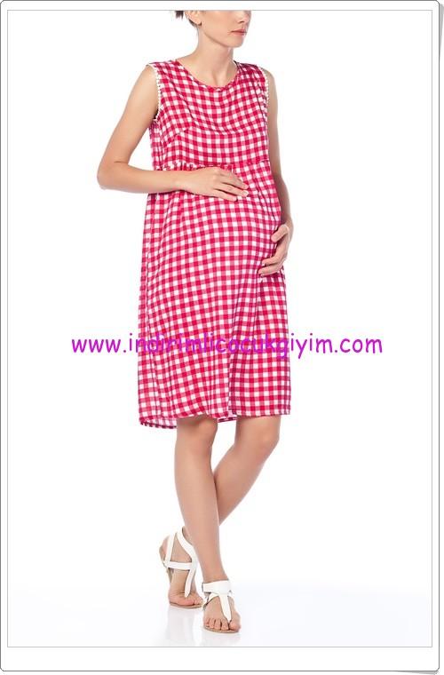 Gör&Sin kırmızı pötikareli hamile elbise-70 TL
