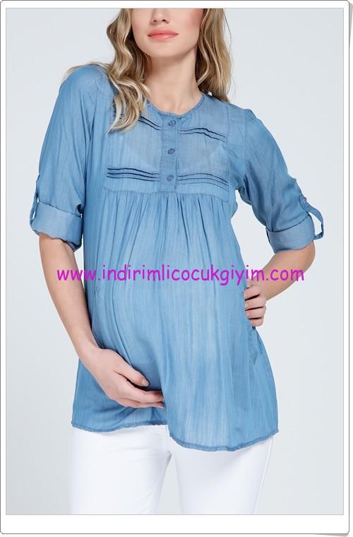 Gör&sin mavi cepli hamile gömlek-60 TL
