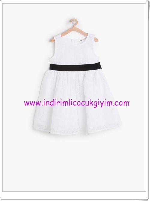 Koton kız çocuk beyaz kemer detaylı elbise-50 TL