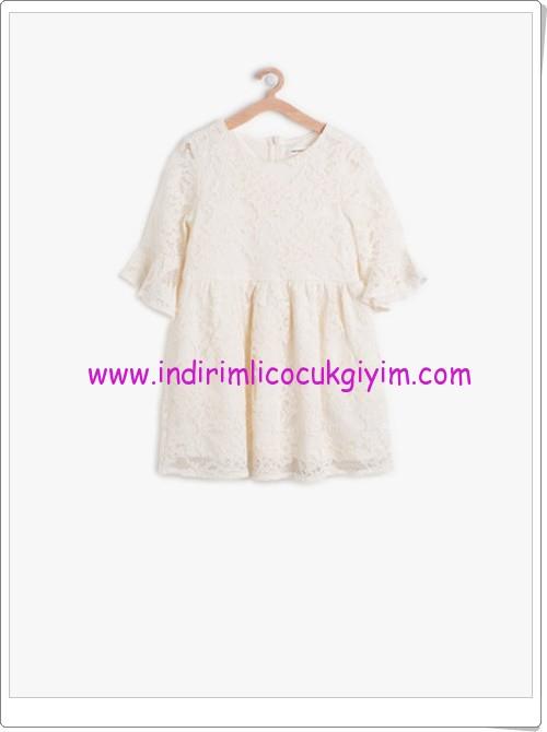Koton kız çocuk beyaz rahat kesim elbise-70 TL