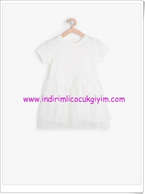 Koton kız çocuk ekru desenli elbise-36 TL