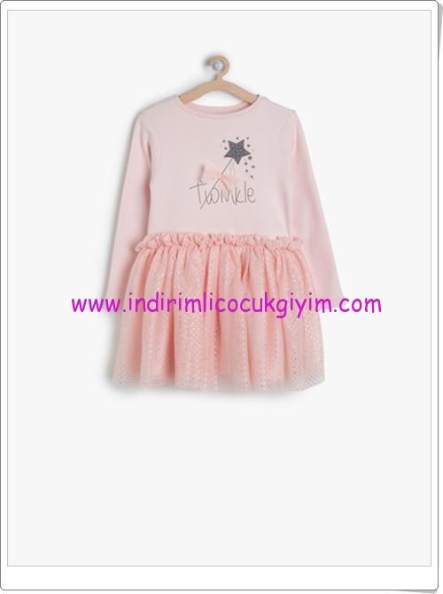 Koton kız çocuk gül rengi baskılı elbise-43 TL