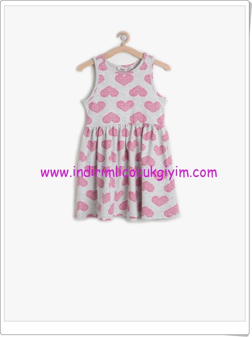 Koton kız çocuk gri kalp desenli elbise-15 TL