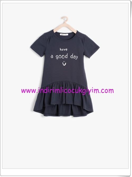 Koton kız çocuk lacivert bisiklet yaka elbise-23 TL