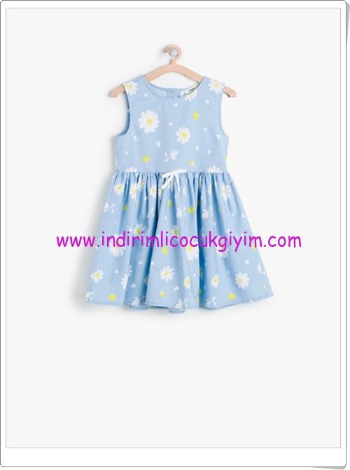 Koton kız çocuk mavi çiçek desenli elbise-30 TL